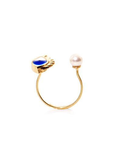 Delfina Delettrez Gold, pearl and enamel eye ring