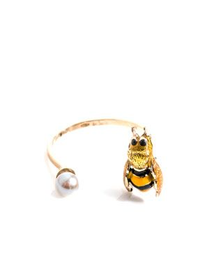 Pearl, enamel and gold-plated Bee ring