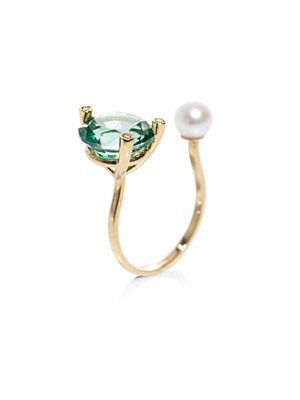 Diamonds, topaz, pearl and gold ring