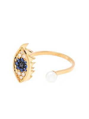 Diamond, sapphire, pearl and gold eye ring