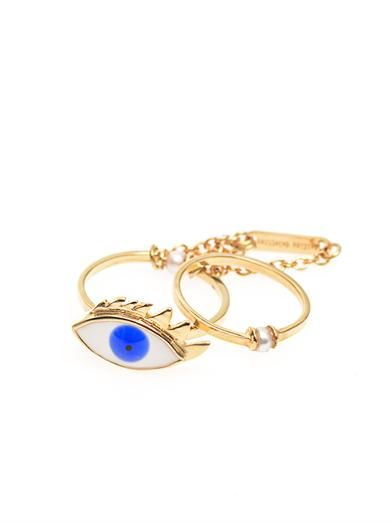 Delfina Delettrez Pearl, enamel & yellow-gold eye ring