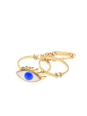Pearl, enamel & yellow-gold eye ring
