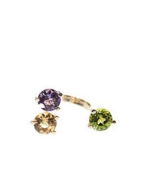Peridot, citrin, amethyst & gold ring