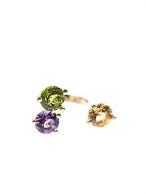 Perridot, citrin, amethyst & gold ring