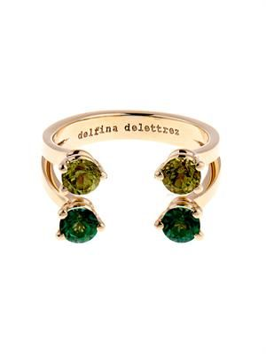 Peridot, topaz & yellow-gold ring
