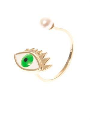 Pearl, gold & enamel ring