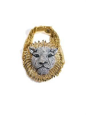 Diamond and yellow gold lion bracelet