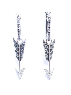 Diamond & gold arrow charm earrings