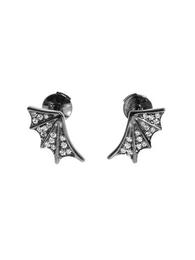 Elise Dray White diamond & gold dragon wing earrings