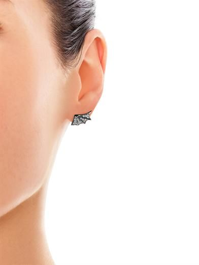 Elise Dray White diamond & gold dragon wing earrings