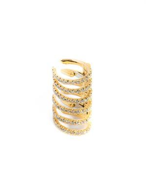 Diamond & gold stripes clip earring