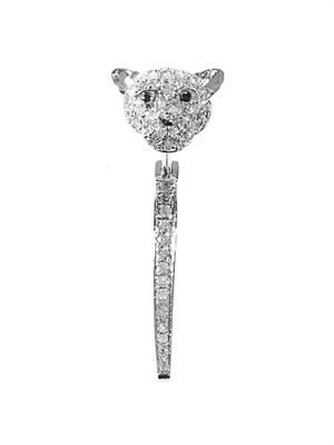 Diamond & white gold single tiger earring