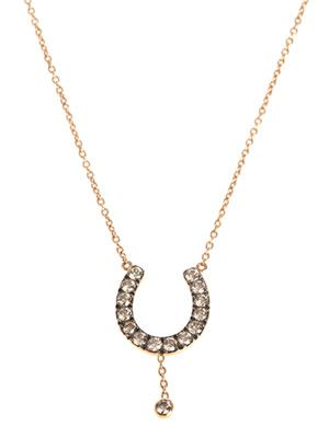 Brown diamond & gold horseshoe necklace