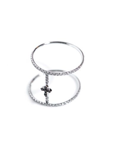 Elise Dray Diamond and white gold Roman-cross ring