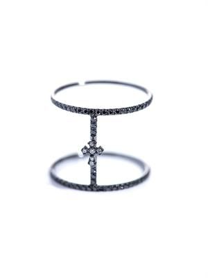 Diamond and black gold Roman-cross ring