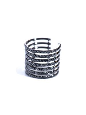 Diamond and gold stripes phalanx ring