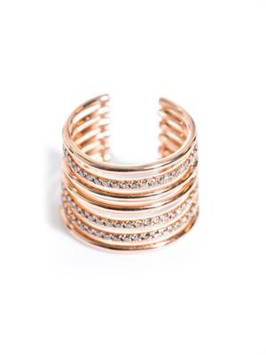 Diamond & pink gold phalanx armour ring