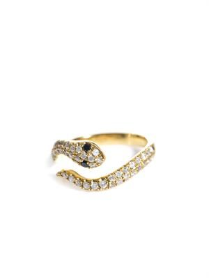 Diamond and gold snake pinky ring