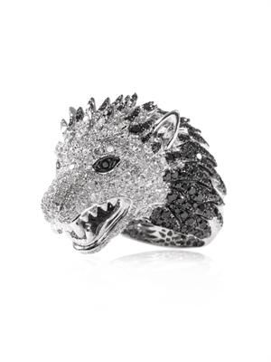 Diamond and white-gold wolf ring