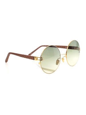 Round metal and snakeskin sunglasses