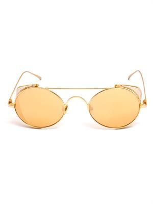 Gold-plated round sunglasses