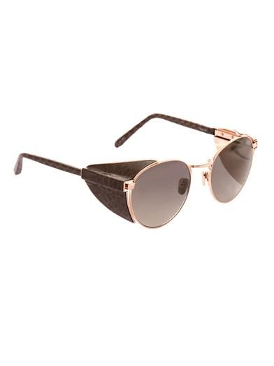 Linda Farrow Snakeskin and gold-plated sunglasses