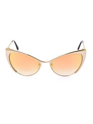 Cat-eye flash gold sunglasses