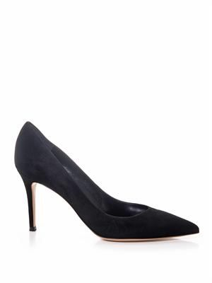 Business point-toe suede pumps