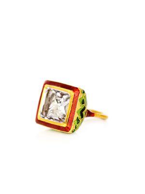 Amethyst, enamel & gold Jodhpur ring