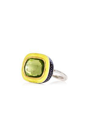 Peridot, gold, silver & enamel ring