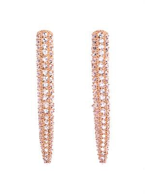 Long spike crystal embellished earrings