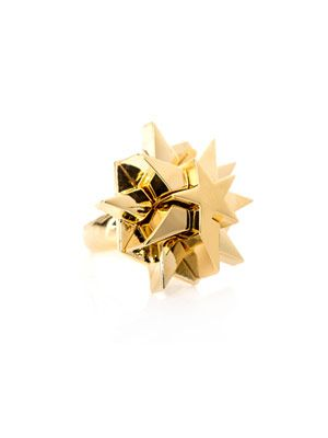 Yellow gold-plated pentagram ring