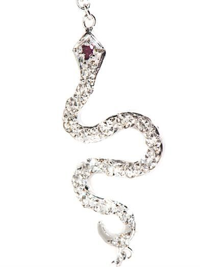 Ileana Makri White diamond, ruby & gold snake bracelet