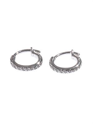 Diamond & white-gold mini hoop earrings