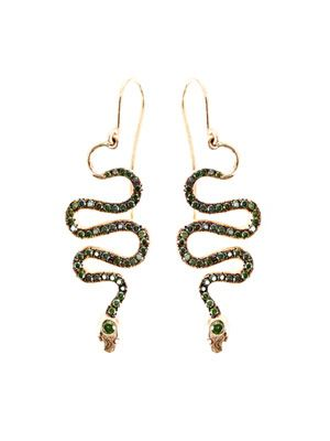 Green & burgundy diamond earrings