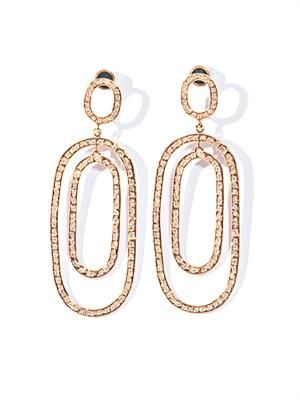 White diamond & gold double hoop earrings