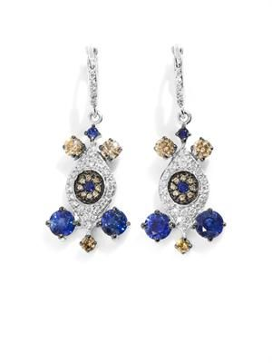 Diamond, sapphire & white gold drop earrings