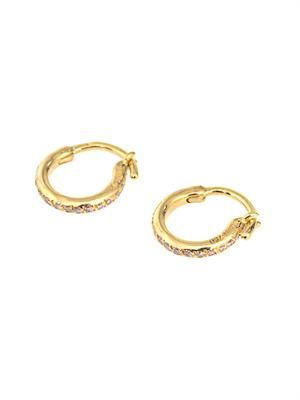 Diamond & yellow-gold mini hoop earrings