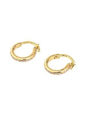 Diamond & yellow-gold mini hoop earrings