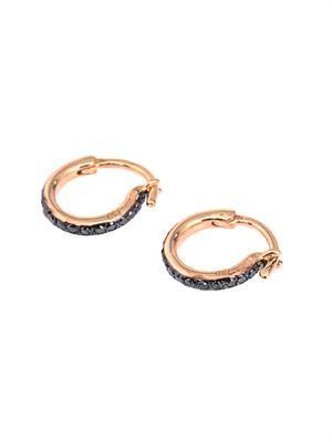 Diamond & rose-gold mini hoop earrings