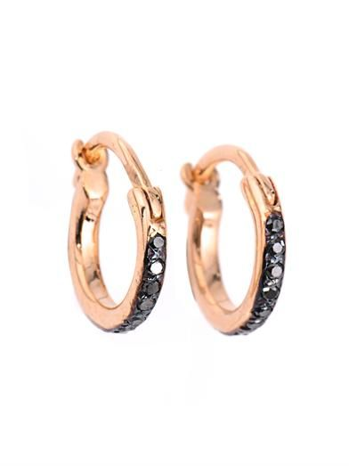 Ileana Makri Diamond & rose-gold mini hoop earrings