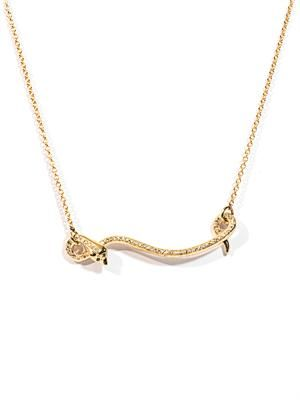 Diamond & yellow gold flying snake necklace