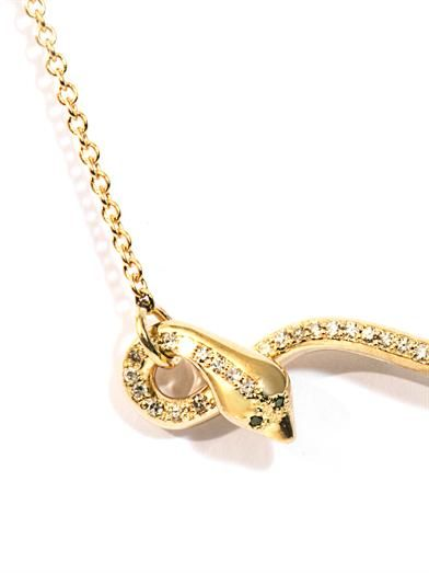 Ileana Makri Diamond & yellow gold flying snake necklace