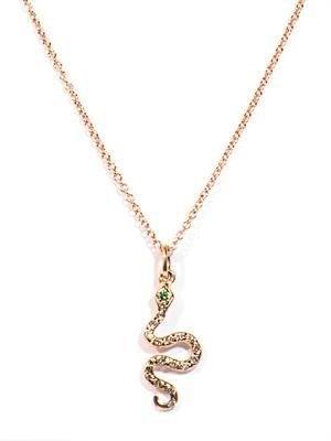 White diamond, tsavorite & gold snake necklace