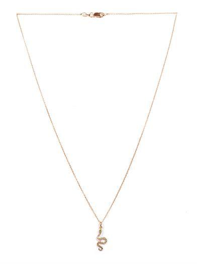 Ileana Makri Diamond, tsavorite & gold snake necklace