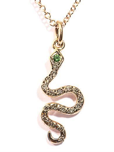 Ileana Makri White diamond, tsavorite & gold snake necklace