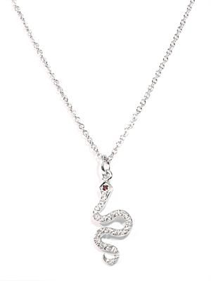 White diamond and gold little snake necklace
