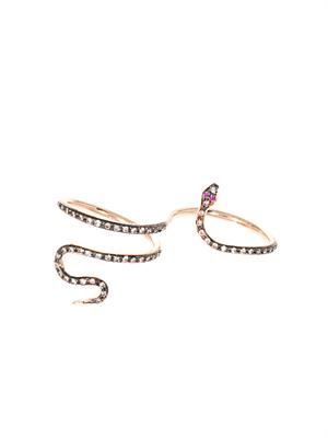 Diamond, ruby & gold snake ring