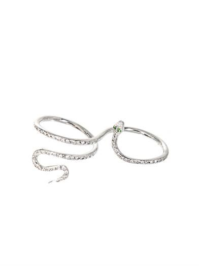 Ileana Makri Diamond, tsavorite & gold snake ring