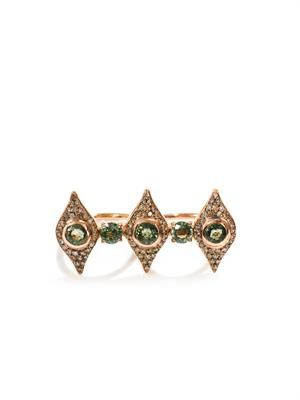 Diamond, tsavorite & pink gold double ring